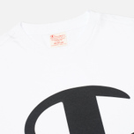 Champion Reverse Weave Crew Neck Print Logo Men's T-shirt White photo- 1