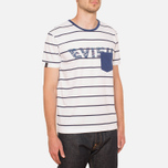 Evisu Genes Tesurto Stripe Bandana Print T-Shirt White/Navy photo- 0