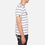 Evisu Genes Tesurto Stripe Bandana Print T-Shirt White/Navy photo- 1