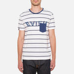 Evisu Genes Tesurto Stripe Bandana Print T-Shirt White/Navy photo- 4