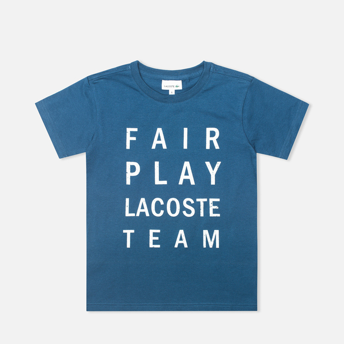 Детская футболка Lacoste Fair Play Print Philippines Blue/Blanc