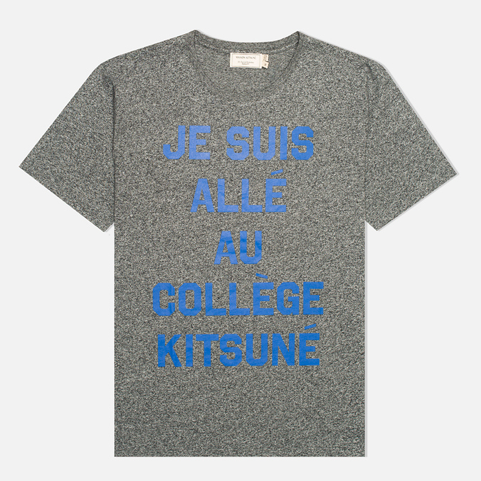maison kitsune crew neck print je suis alle dark grey melange u708dgm. Black Bedroom Furniture Sets. Home Design Ideas