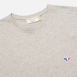 Мужская футболка Maison Kitsune Crew Neck Tricoclor Fox Patch Grey Melange фото- 1