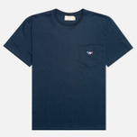 Мужская футболка Maison Kitsune Crew Neck Tricoclor Fox Patch Navy фото- 0