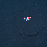 Мужская футболка Maison Kitsune Crew Neck Tricoclor Fox Patch Navy фото- 3