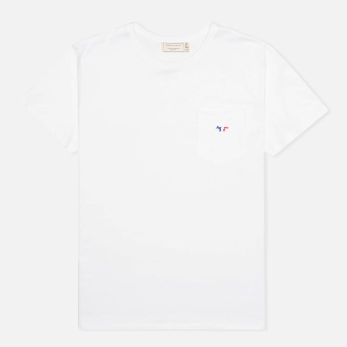 Maison Kitsune Crew Neck Tricoclor Fox Patch Men's T-shirt White