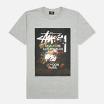 Мужская футболка Stussy World Tour Floral Grey Heather фото- 0