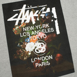 Мужская футболка Stussy World Tour Floral Grey Heather фото- 2