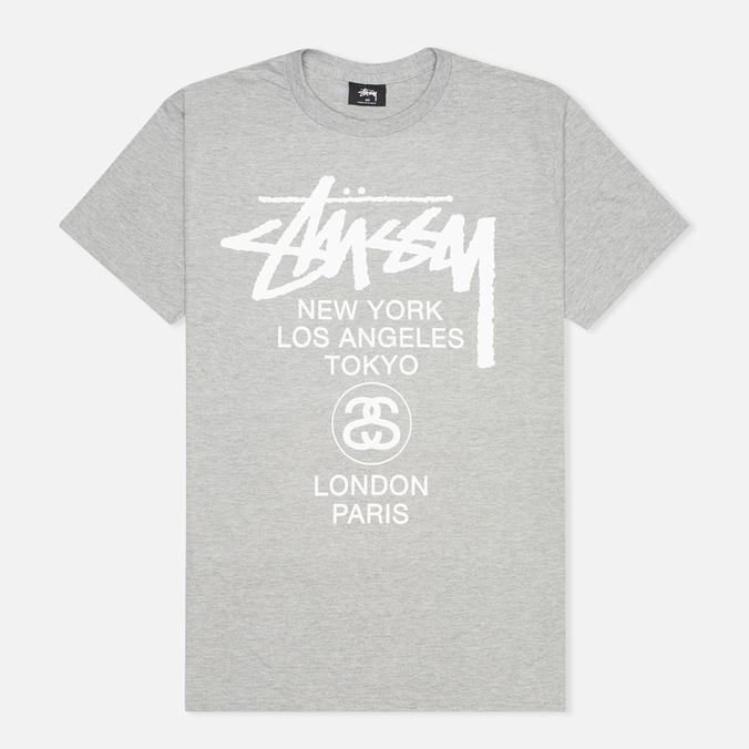 Мужская футболка Stussy World Tour Grey Heather