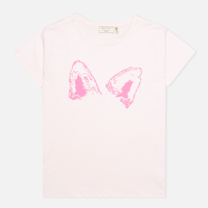 Женская футболка Maison Kitsune Crew Neck Print Fox Ears Light Pink