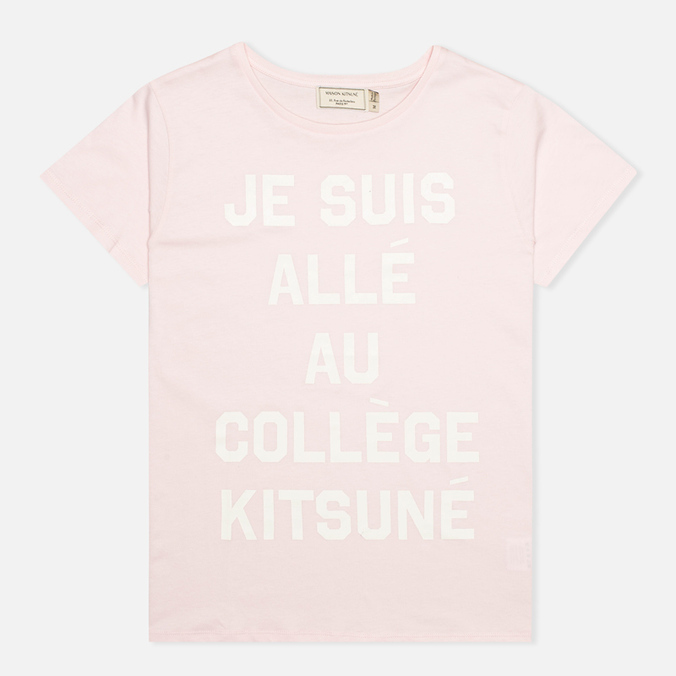 Женская футболка Maison Kitsune Crew Neck Print Je Suis Light Pink