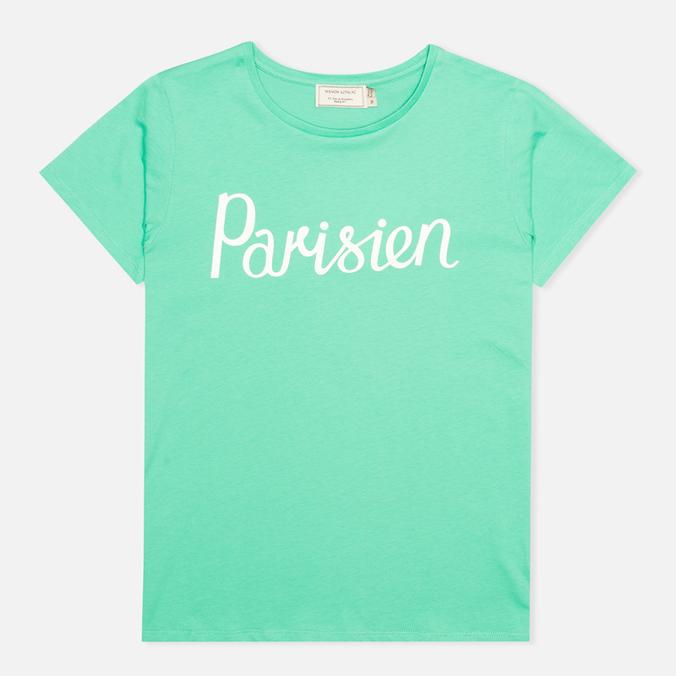 Женская футболка Maison Kitsune Crew Neck Print Parisien Green
