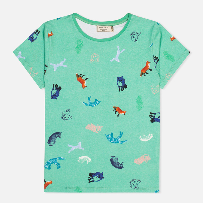 Женская футболка Maison Kitsune Round Neck Childish Green