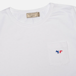 Женская футболка Maison Kitsune Round Neck Tricolor Patch White фото- 1