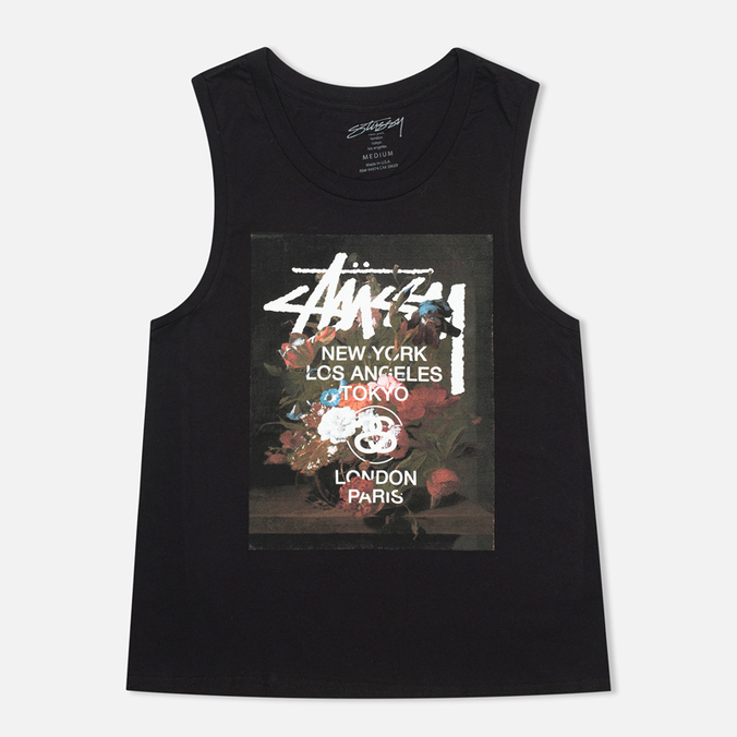 Женская футболка Stussy WT Floral Muscle Scoop Black