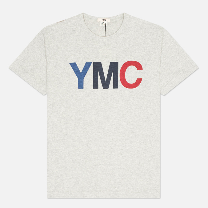 YMC Logo Print Crew Neck Men's T-shirt Grey