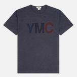 Мужская футболка YMC Logo Print Crew Neck Navy фото- 0