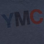 Мужская футболка YMC Logo Print Crew Neck Navy фото- 2