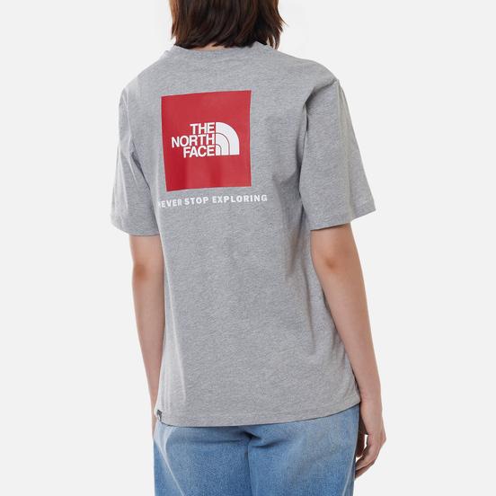 Женская футболка The North Face Boyfriend Redbox TNF Light Grey Heather/TNF Red