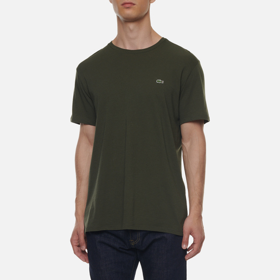 Мужская футболка Lacoste Crew Neck Pima Cotton Khaki Green