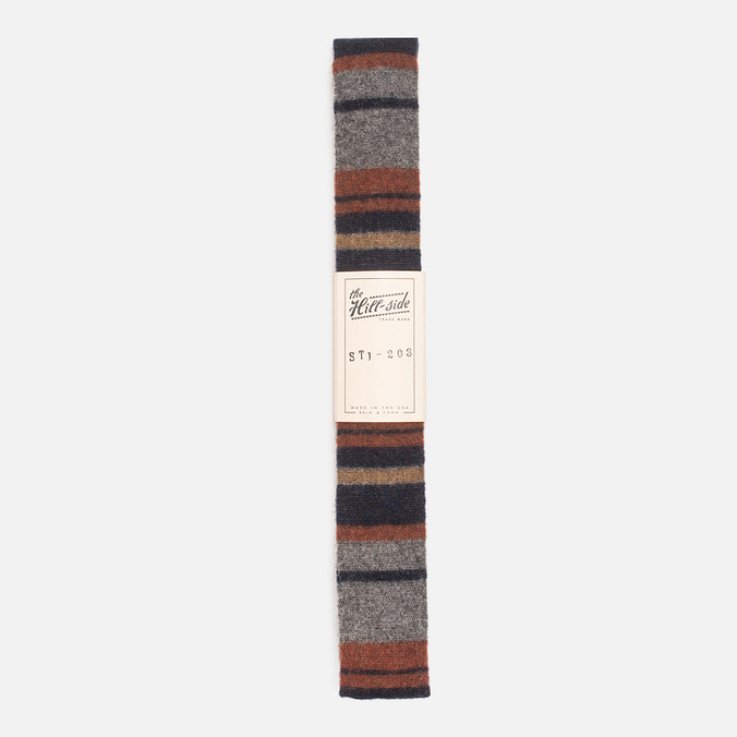 The Hill-Side Wool Blend Stripe Square-End Men's Tie Grey/Navy
