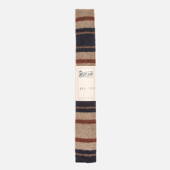 The Hill-Side Wool Blend Stripe Square-End Men's Tie Tan/Navy