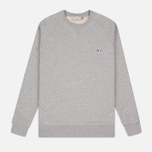 Maison Kitsune Tricolor Patch Men's Sweatshirt Grey Melange photo- 0
