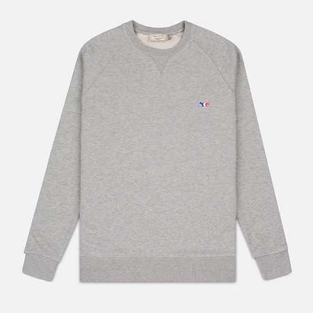 Maison Kitsune Tricolor Patch Men's Sweatshirt Grey Melange
