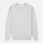 Мужская толстовка Maison Kitsune Crew Neck Tricolor Fox Chest Patch Grey Melange фото- 0