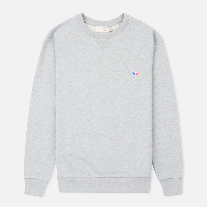 Мужская толстовка Maison Kitsune Crew Neck Tricolor Fox Chest Patch Grey Melange