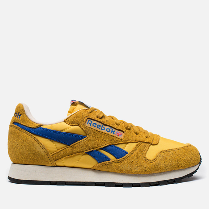 Мужские кроссовки Reebok Classic Leather Vintage Inspired Khaki/Lemon/Blue