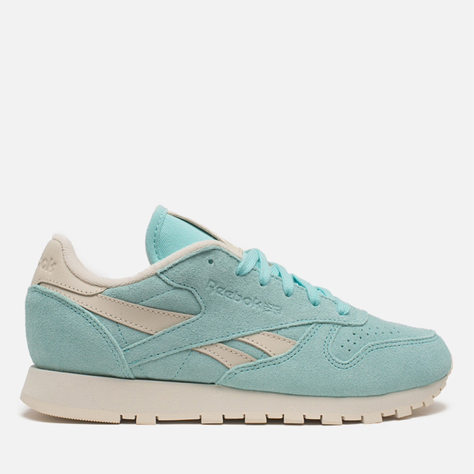 Женские кроссовки Reebok Classic Leather Suede Crystal Blue/Paper White