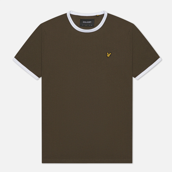 Мужская футболка Lyle & Scott Ringer Trek Green/White