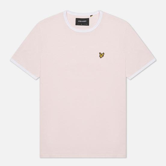 Мужская футболка Lyle & Scott Ringer Stonewash Pink/White