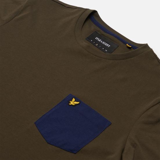 Мужская футболка Lyle & Scott Contrast Pocket Trek Green/Navy