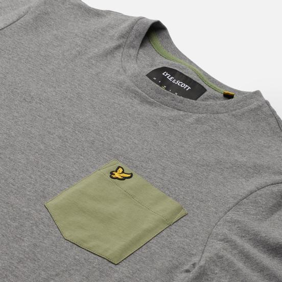Мужская футболка Lyle & Scott Contrast Pocket Mid Grey Marl/Moss