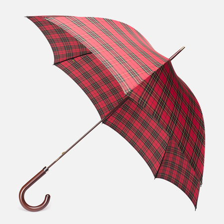 Зонт-трость Fox Umbrellas GT2 Dark Brown Matt Handle Red/Black