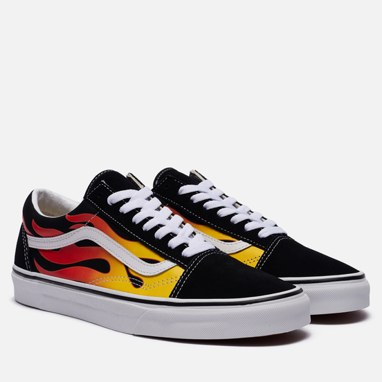 Кеды Vans Old Skool Flame Black/Black/True Whit