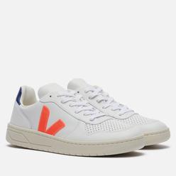 Мужские кроссовки VEJA V-10 Leather White/Orange Fluo/Cobalt