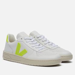 Мужские кроссовки VEJA V-10 Leather Extra White/Jaune Fluo