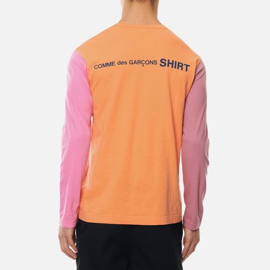 Мужской лонгслив Comme des Garcons SHIRT Color Block Crew Neck Orange/Mix