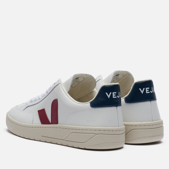 Мужские кроссовки VEJA V-12 Leather Extra White/Marsala/Nautico