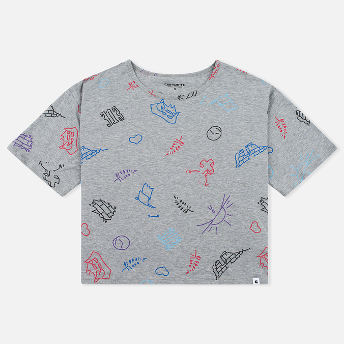 Женская футболка Carhartt WIP W' Lucile Scribble Print Grey Heather