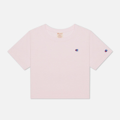 Женская футболка Champion Reverse Weave C Logo Crew Neck Cropped Pink