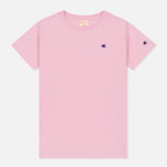 Женская футболка Champion Reverse Weave Crewneck Logo Embroidery Light Pink фото- 0