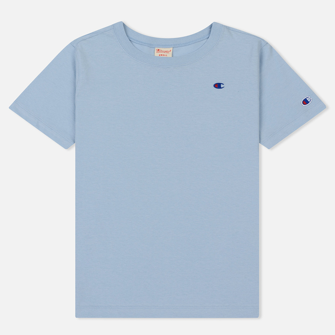 Женская футболка Champion Reverse Weave Logo Embroidered Onto The Chest And Sleeve Pastel Blue