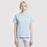 Женская футболка Champion Reverse Weave Logo Embroidered Onto The Chest And Sleeve Pastel Blue фото- 1
