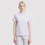 Женская футболка Champion Reverse Weave Logo Embroidered Onto The Chest And Sleeve Pastel Lilac фото- 1