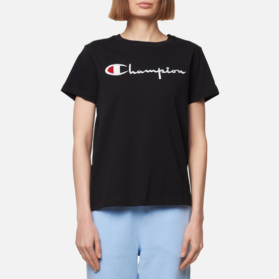 Женская футболка Champion Reverse Weave Script Logo Crew Neck Black