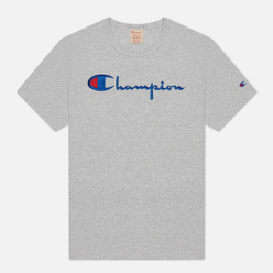 Женская футболка Champion Reverse Weave Script Logo Crew Neck Light Grey